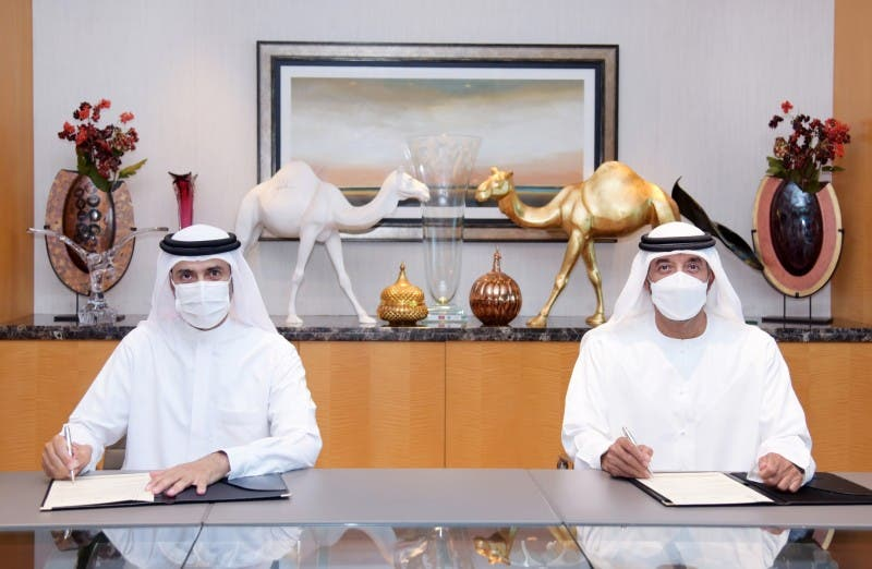 Sheikh Ahmed bin Saeed Al Maktoum, Emirates' Chairman and Chief Executive and His Excellency Awadh Al Ketbi, Director General of Dubai Health Authority. (Supplied)