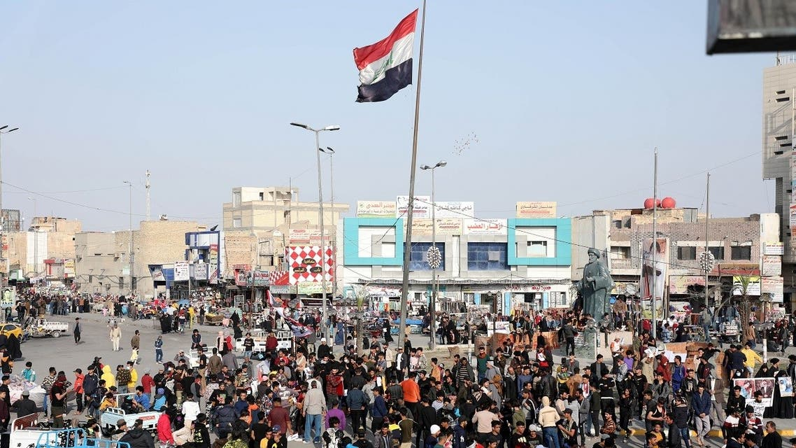 Iraqi demonstrators take part in ongoing anti-government protests in Nasiriyah, Iraq January 29, 2021. (Reuters)