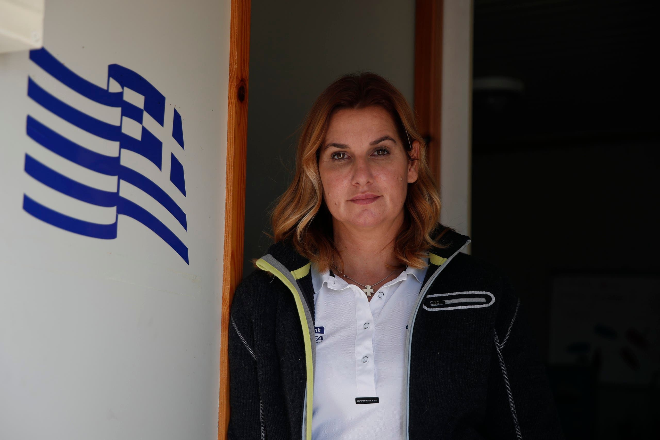 Greek Olympic sailing champion Sofia Bekatorou poses for a photograph during an interview for the Associated Press, at Agios Kosmas marina in southern Athens, Thursday, Feb. 4, 2021. (AP)