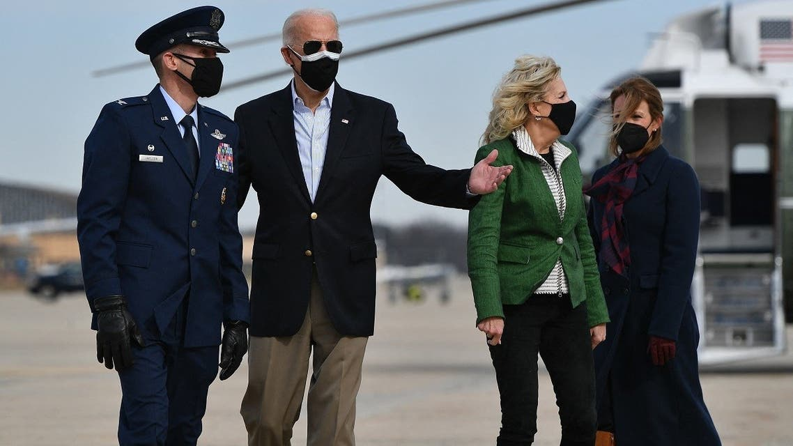 US President Joe Biden and First Lady Jill Biden arrive to board Air Force One at Joint Base Andrews, Feb. 26, 2021. (AFP)