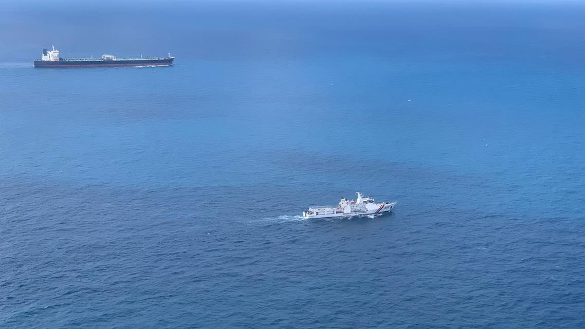 Iranian-flagged crude oil tanker MT Horse is escorted to Batam, Riau Islands, Indonesia January 26, 2021. Indonesian Coast Guard (BAKAMLA)/Indonesian Navy (TNI AL)/Handout via REUTERS THIS IMAGE HAS BEEN SUPPLIED BY A THIRD PARTY. NO RESALES. NO ARCHIVES. MANDATORY CREDIT