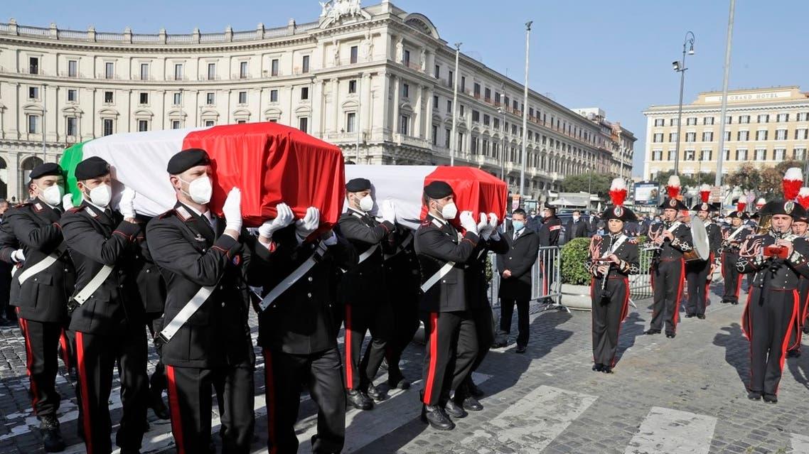 The coffins of the Italian ambassador to the Democratic Republic of Congo Luca Attanasio, right, and Italian Carabinieri police officer Vittorio Iacovacci in Rome, Feb. 25, 2021. (AP)