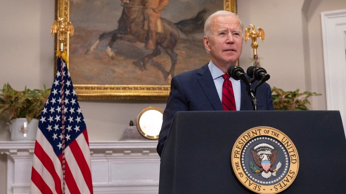 US President Joe Biden speaks about the American Rescue Plan from the Roosevelt Room of the White House in Washington, DC, on February 27, 2021. (Andrew Caballero-Reynolds/AFP)