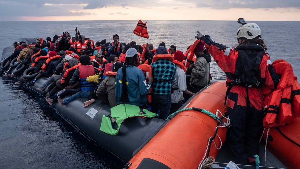 German NGO Sea Watch rescues migrants on a rubber dinghy off the coast of Libya. (Sea Watch via Twitter)