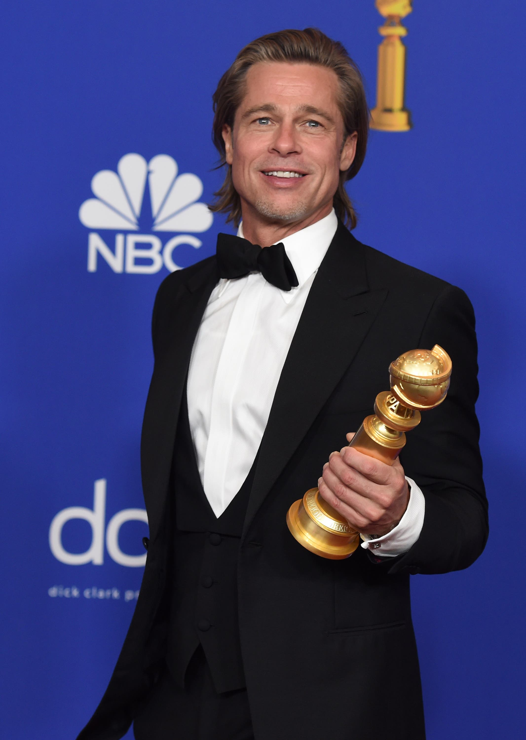 Brad Pitt poses in the press room with the award for best performance by an actor in a supporting role in any motion picture for Once Upon a Time...in Hollywood at the 77th annual Golden Globe Awards at the Beverly Hilton Hotel on Sunday, Jan. 5, 2020. (AP)
