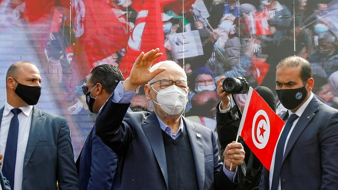 Parliament Speaker Rached Ghannouchi, head of the moderate Islamist Ennahda, waves to supporters during a rally in opposition to President Kais Saied, in Tunis, Tunisia February 27, 2021. REUTERS/Zoubeir Souissi
