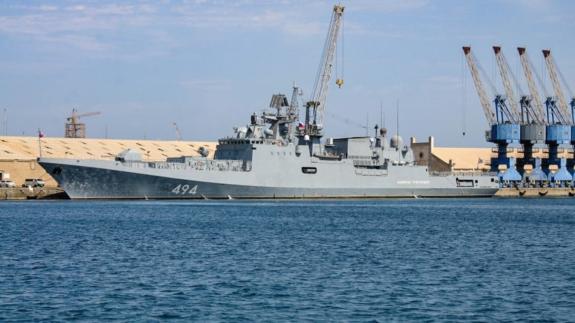 This picture taken on February 28, 2021 shows a view of the Russian Navy frigate RFS Admiral Grigorovich (494), anchored in Port Sudan. (AFP)