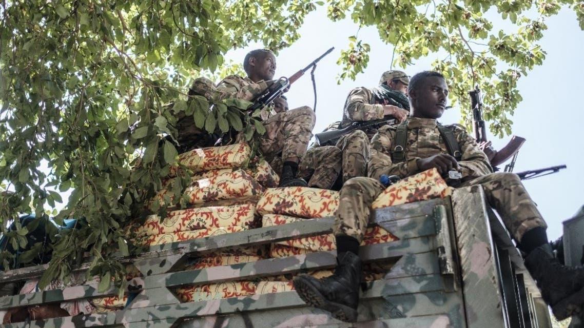 عناصر من قوات أمهرة بالقرب من إقليم تيغراب في إثيوبيا - أرشيفية من فرانس برس