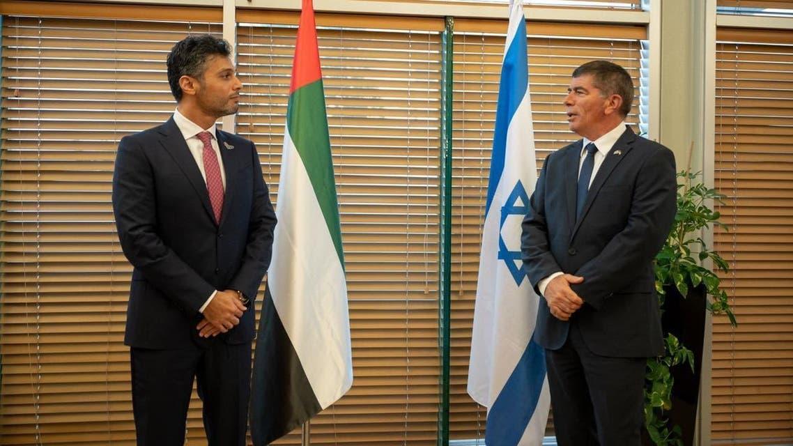 UAE ambassador to Israel Mohamed Al Khaja received by Israeli Foreign Minister Gabi Ashkenazi in Jerusalem. (Twitter/@AmbAlKhaja)