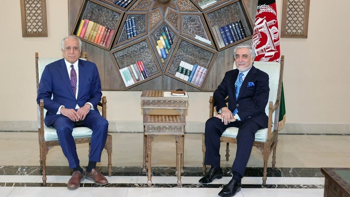 US envoy for peace in Afghanistan Zalmay Khalilzad meets Abdullah Abdullah, Chairman of the High Council for National Reconciliation in Kabul, Afghanistan, on March 1, 2021. (Reuters)