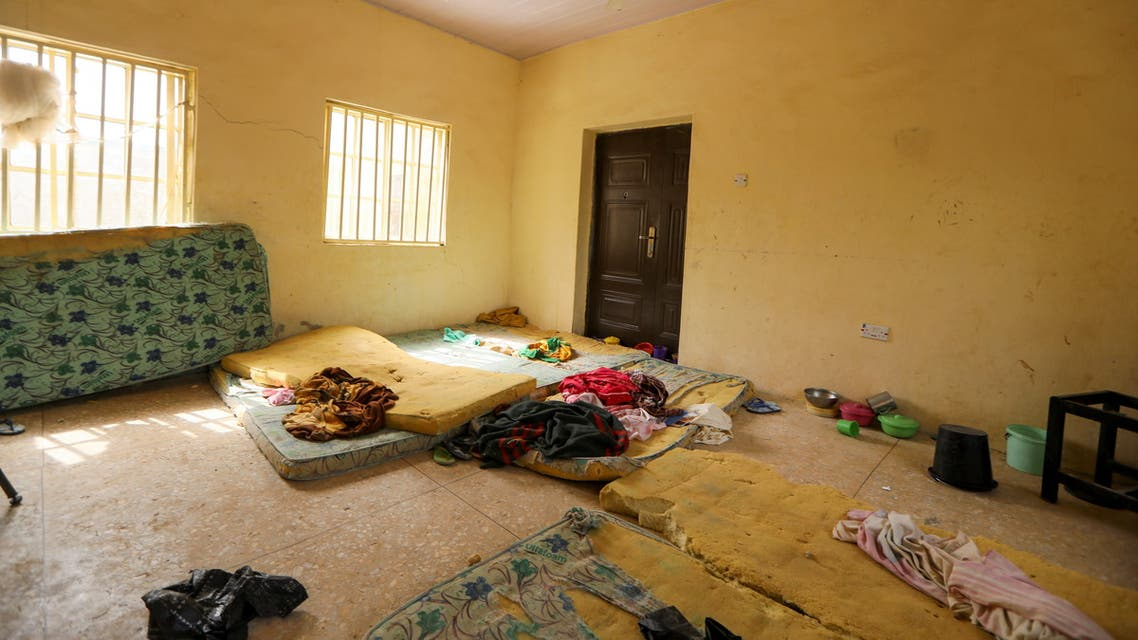 The view shows the interior of one of the school hostels where over 300 JSS Jangebe school girls were abducted from by bandits, in Zamfara, Nigeria February 27, 2021. (Reuters)