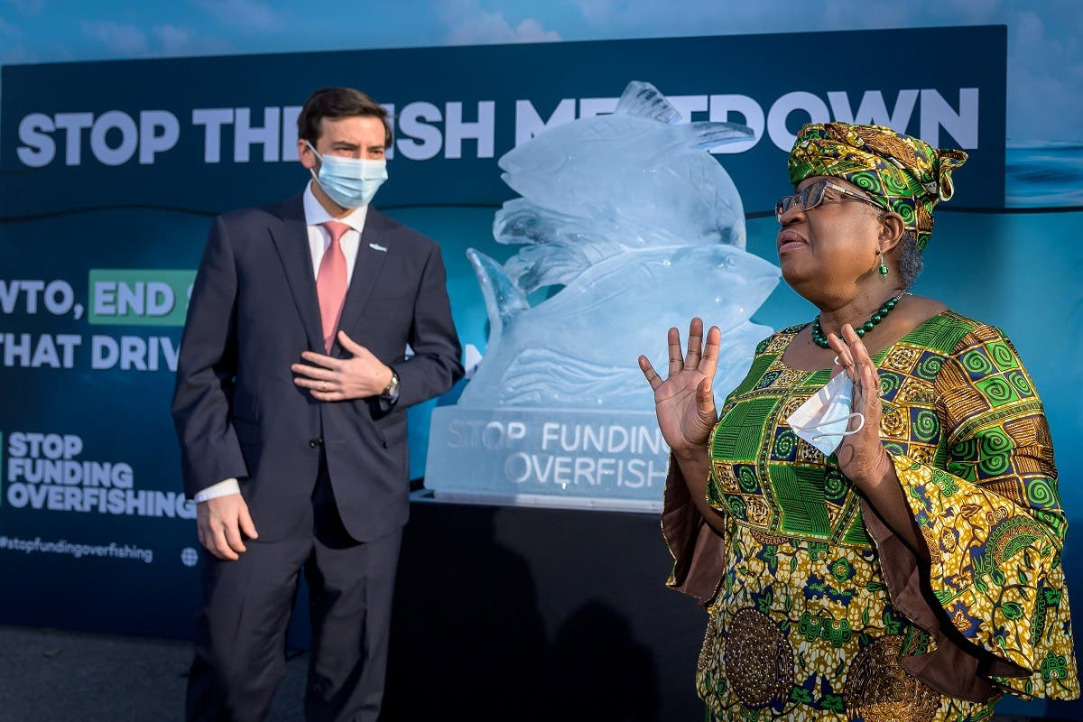 WTO Director-General Ngozi Okonjo-Iweala gestures next to WTO Colombian Ambassador Santiago Wills with an ice sculpture depicting fish in the background during an event by NGOs requesting urgent action to finalize the WTO agreement on ending subsidies that drive overfishing, in Geneva, Switzerland, on March 1, 2021. (Reuters)