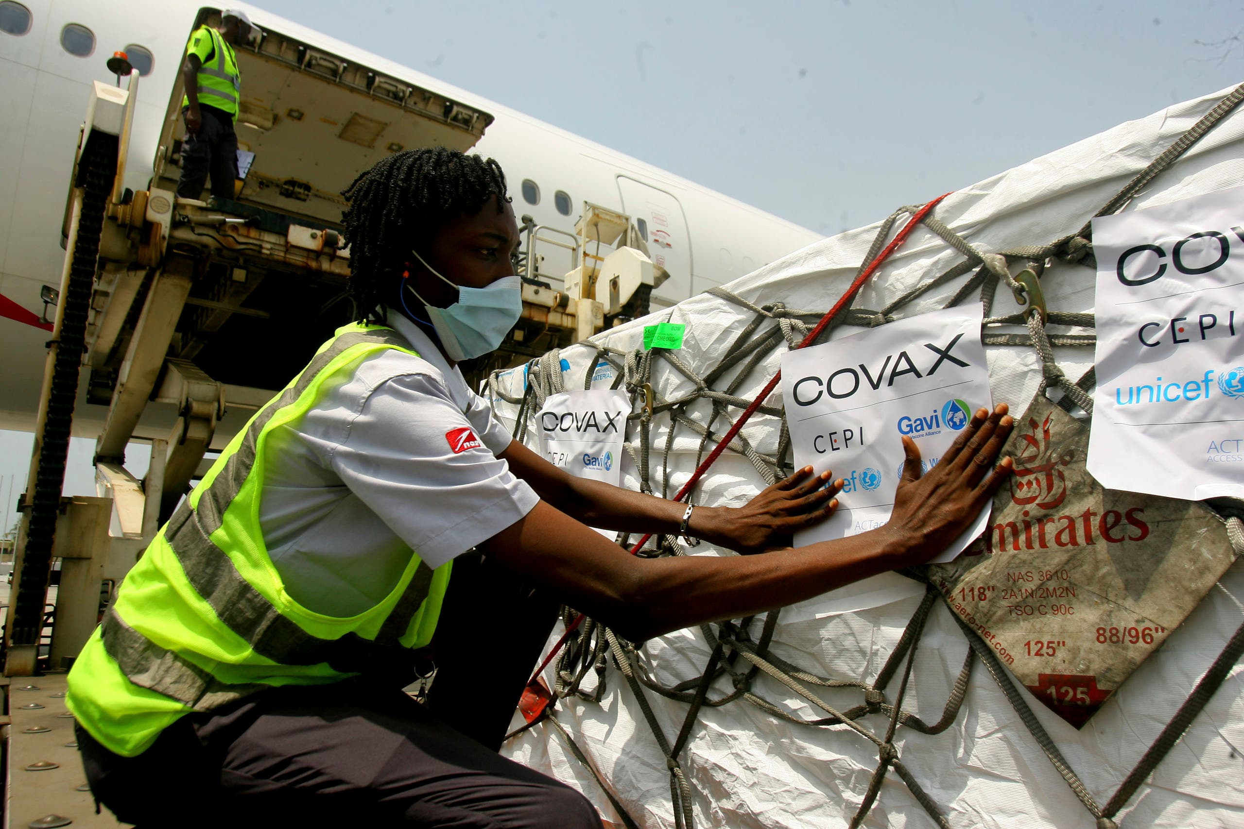 A shipment of COVID-19 vaccines distributed by the COVAX Facility arrives in Abidjan, Ivory Coast, Friday Feb. 25, 2021. (AP)