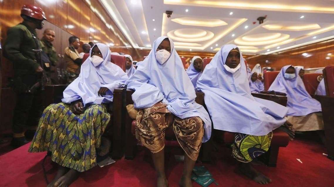 Some of the girls who were kidnapped after their release in Zamfara. (Reuters)