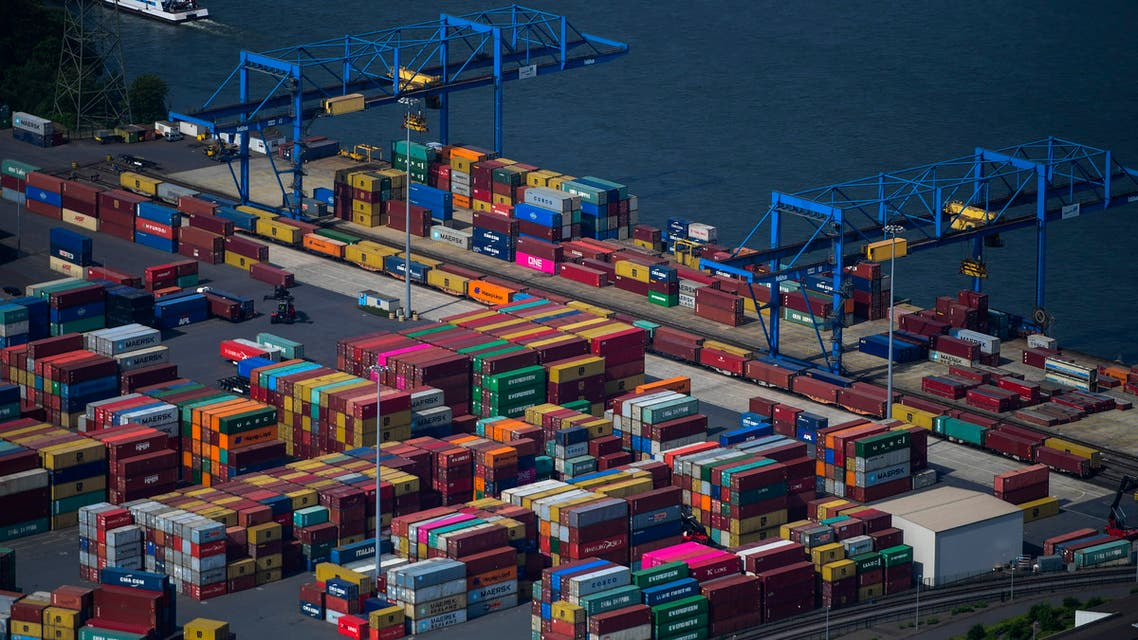 This aerial view shows containers at the harbour of Duisburg, western Germany, on May 8, 2020. (File photo: AFP)