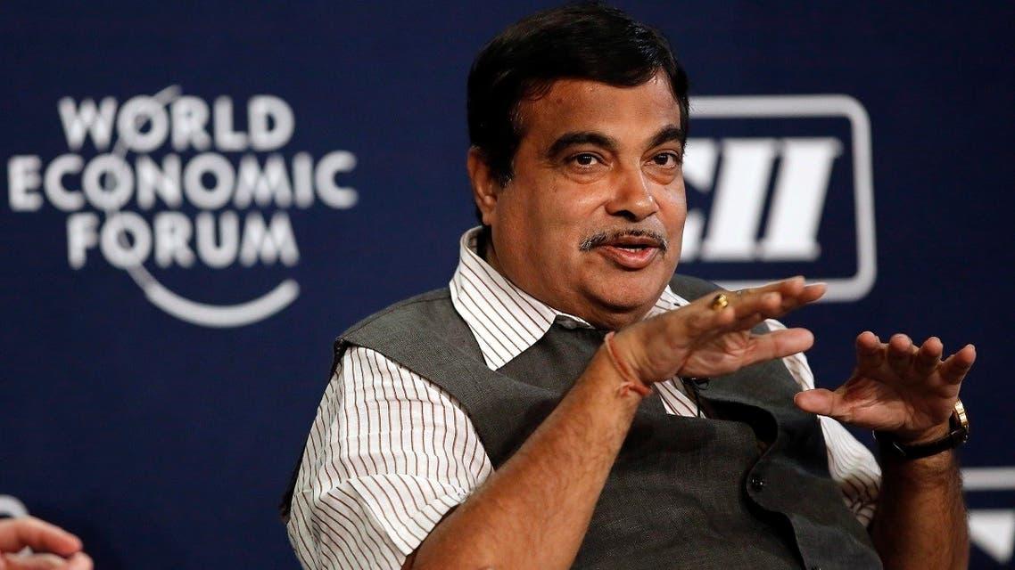 India's Transport Minister Nitin Gadkari speaks during the India Economic Summit at the World Economic Forum in New Delhi. (Reuters)