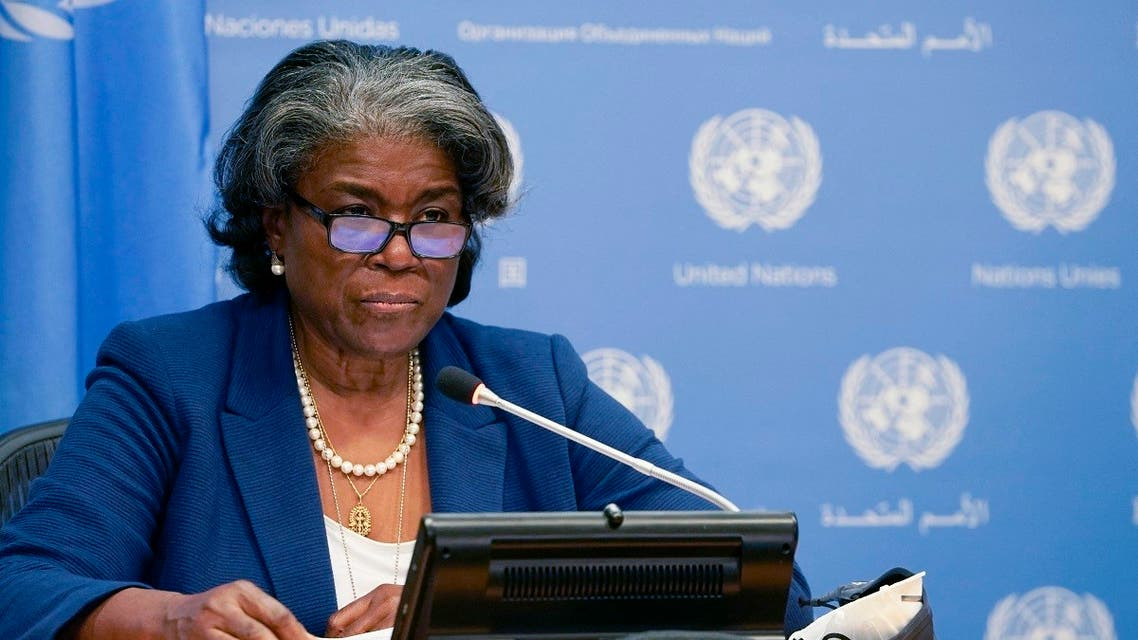 US ambassador to the UN, Linda Thomas-Greenfield, and President of the Security Council speaks during a press conference, in New York March 1, 2021. (AFP)
