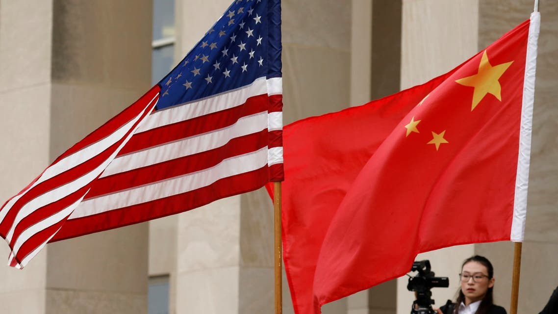 U.S. and Chinese flags are seen before Defense Secretary James Mattis welcomes Chinese Minister of National Defense Gen. Wei Fenghe to the Pentagon in Arlington, Virginia, U.S., November 9, 2018. (Reuters)