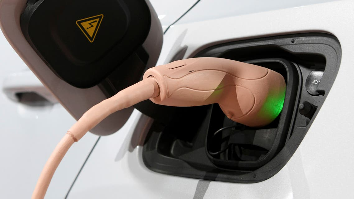 Electric cable connects to the XC40 after Volvo Cars revealed its first fully electric car Wednesday, Oct. 16, 2019, in Los Angeles. (AP Photo/Michael Owen Baker)