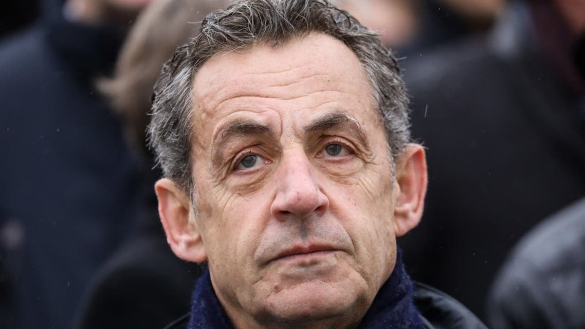 French former president Nicolas Sarkozy attends a ceremony at the Arc de Triomphe in Paris on November 11, 2019. (AFP)