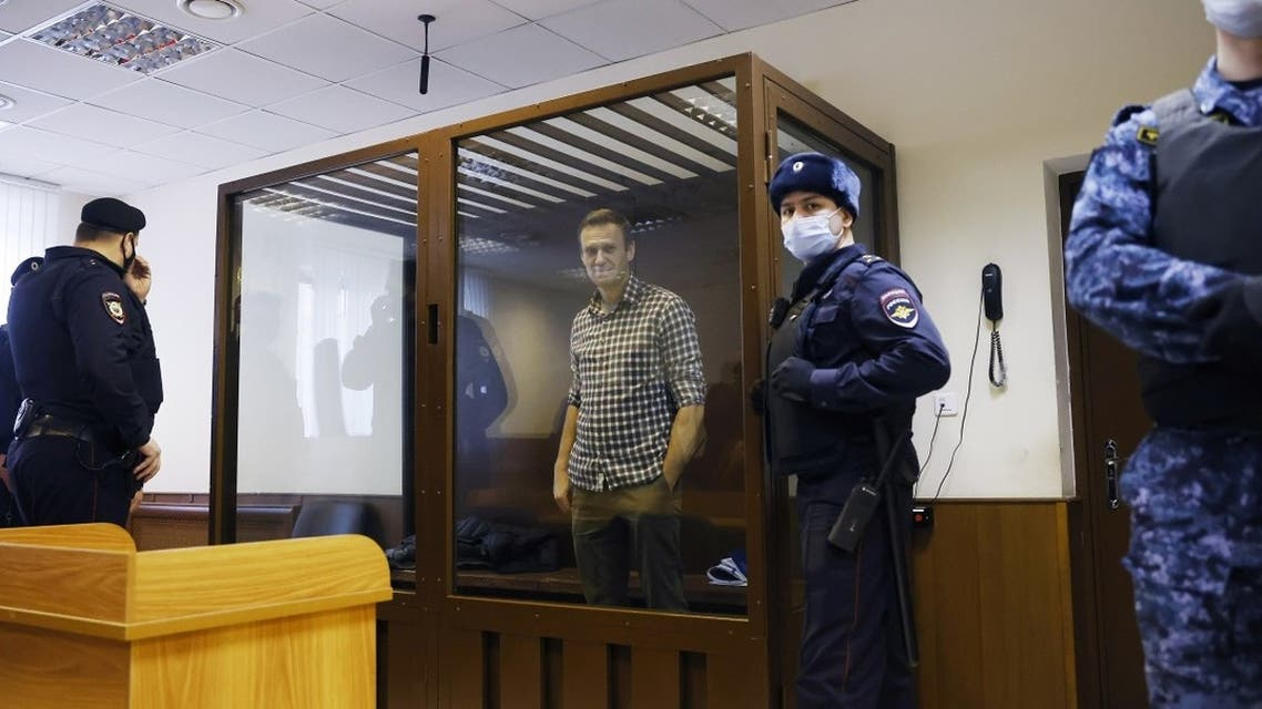 Russian opposition leader Alexei Navalny attends a hearing in Moscow, Russia Feb. 20, 2021. (Reuters)