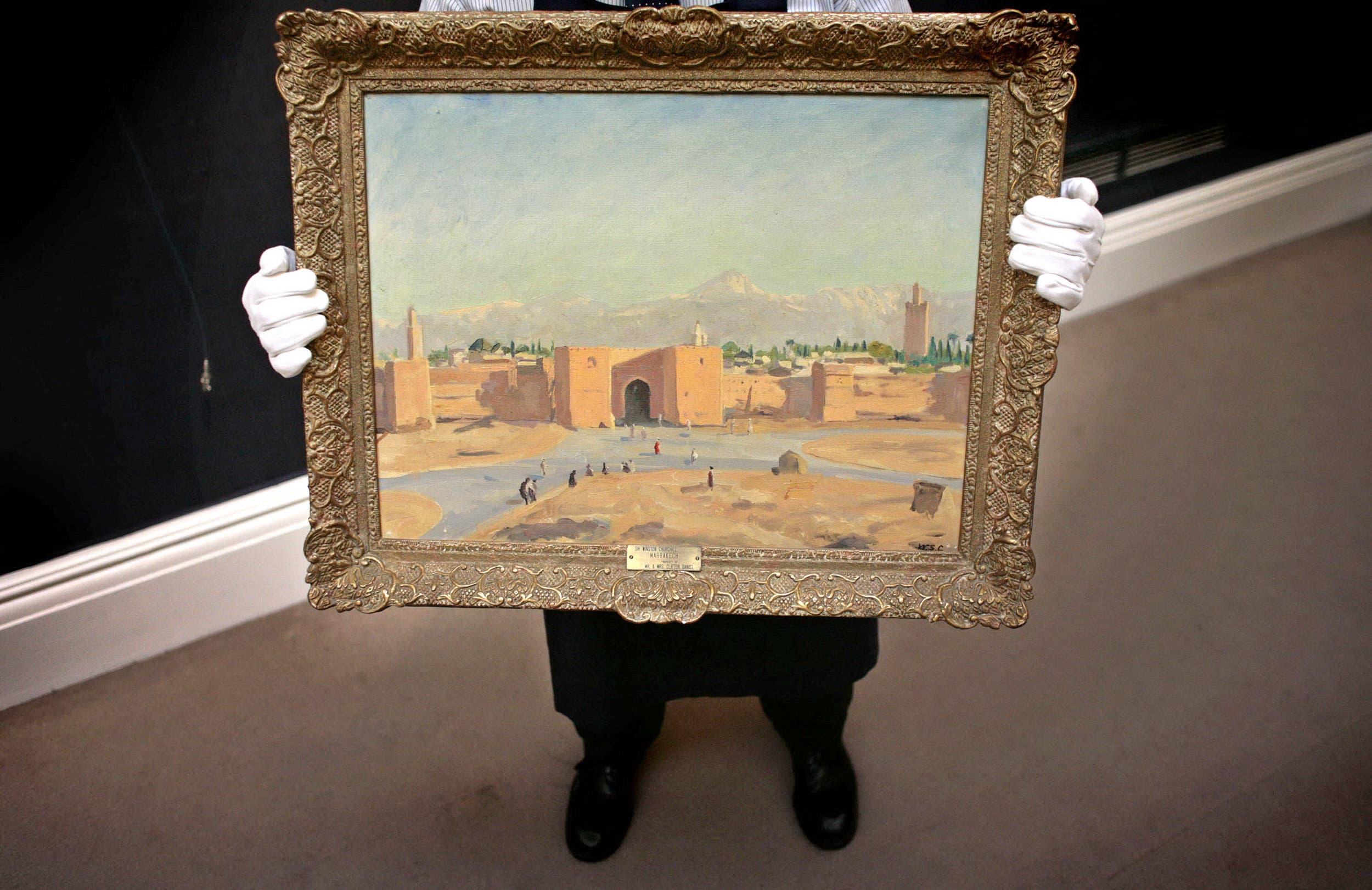 اللوحة التي تجسد صومعة مسجد الكتبية التاريخي في مراكش