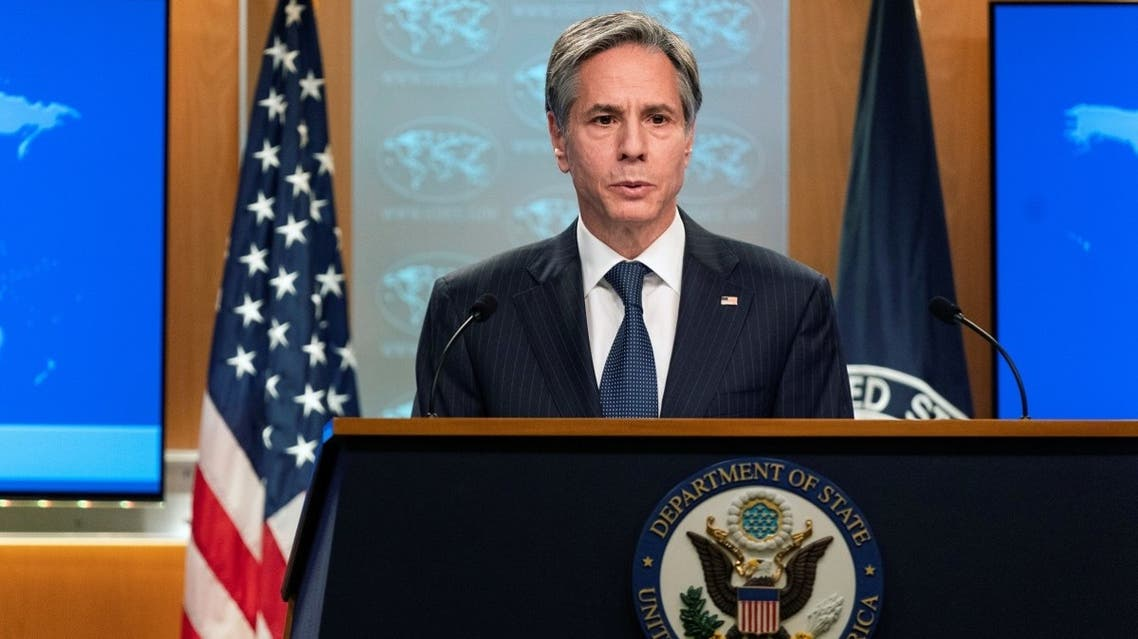 US Secretary of State Antony Blinken speaks to reporters at the State Department, Feb. 26, 2021. (Reuters)