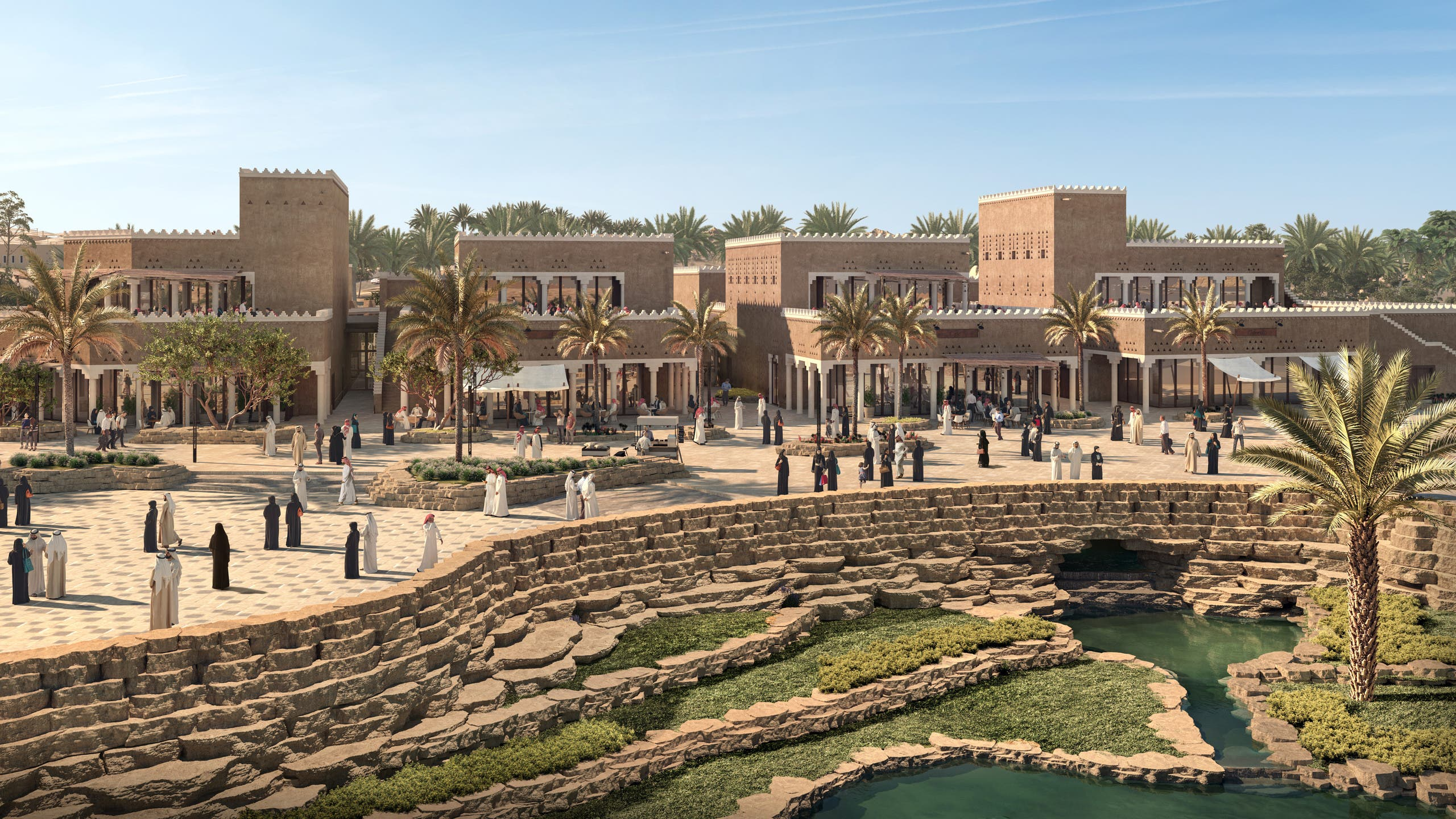 The Al Bujairi District will be the first major part of the huge al-Diriyah Gate development to be open to the public. An F&B precinct steeped in history, it will feature a street market, a gallery, plaza, an amphitheater, and the At-Turaif visitor center – the entry point for tourists embarking on an exploration of the UNESCO World Heritage Site which is also slated to open in 2021. (Supplied: al-Diriyah Gate Development Authority)