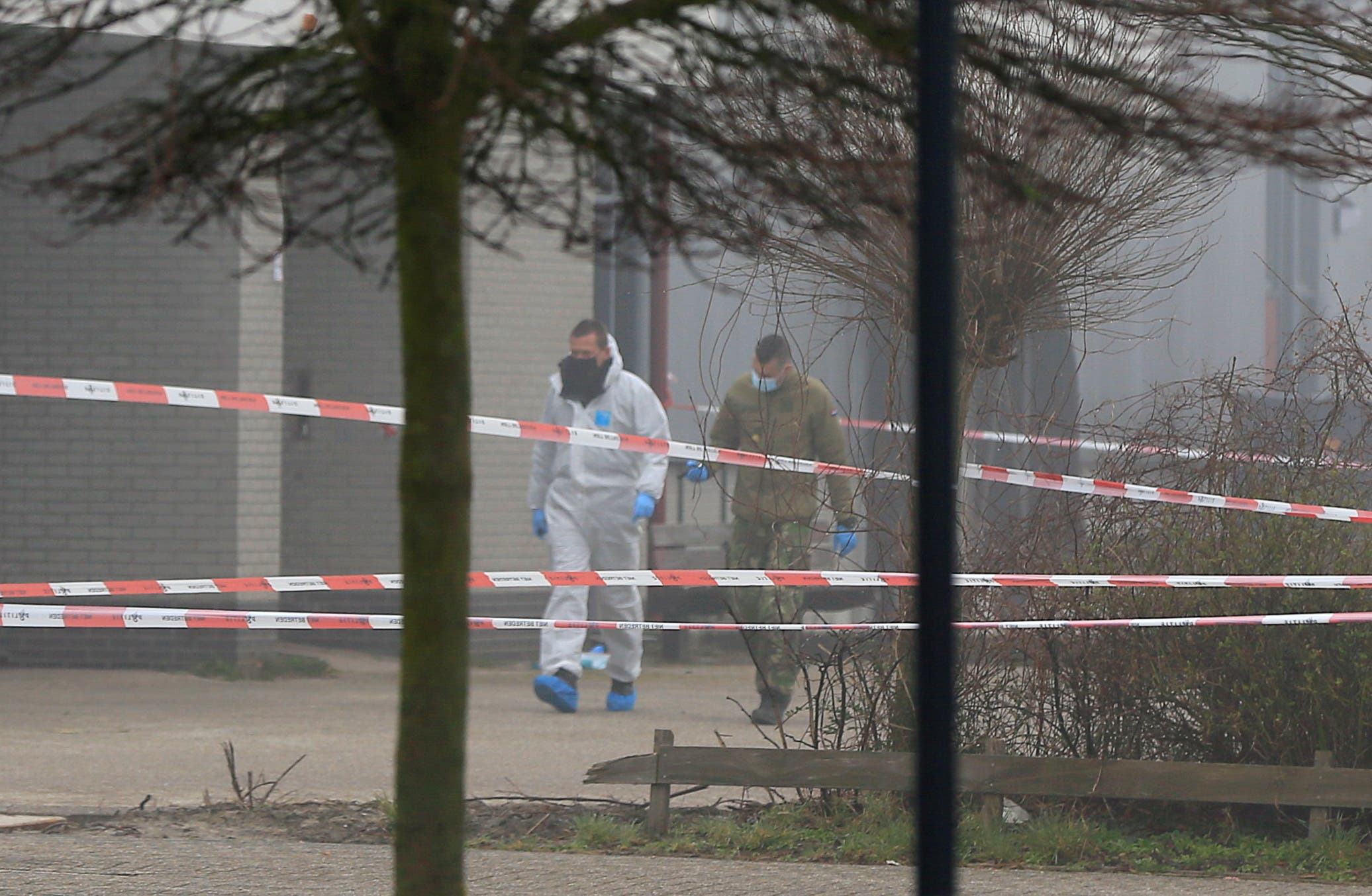 Emergency responders secure the area at the scene of an explosion at a coronavirus disease (COVID-19) testing location in Bovenkarspel, near Amsterdam. (Reuters)