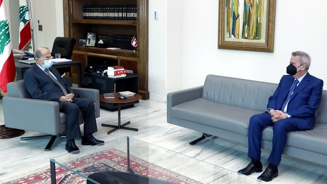 Lebanon's president, Michel Aoun, meets with Central Bank Gov. Riad Salameh, March 3, 2021. (Reuters)