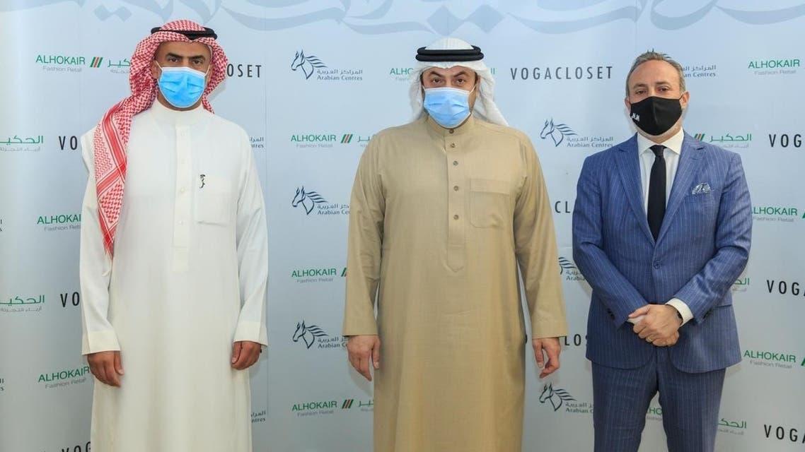 L-R Faisal Al Jedaie (CEO, Arabian Centres Co.), Fawaz Abdulaziz Alhokair (Chairman, Alhokair and Arabian Centres Co.), Marwan Moukarzel (CEO, Alhokair). (Supplied)