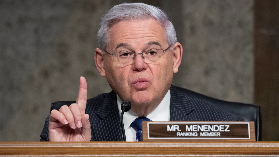 U.S. Senator Bob Menendez (D-NJ) speaks during the Senate Foreign Relations Committee hearing on the nomination of Linda Thomas-Greenfield to be the United States Ambassador to the United Nations, on Capitol Hill in Washington, D.C., U.S., January 27, 2021. Michael Reynolds/Pool via REUTERS