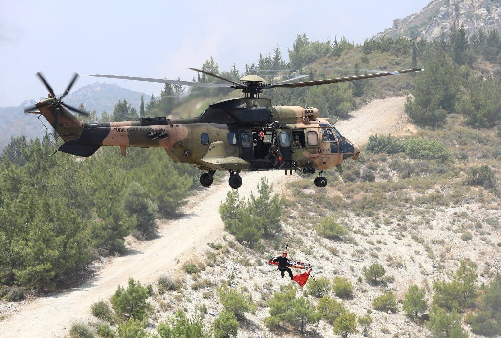 A Turkish army's Eurocopter AS532 Cougar helicopter takes part in a military rescue mission exercise in the northern part of the Mediterranean island of Cyprus in the self-proclaimed Turkish Republic of Northern Cyprus, on June 11, 2019. (File photo: AFP)