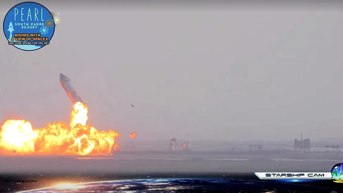 SpaceX's Starship rocket blows up shortly after landing. (Screengrab)