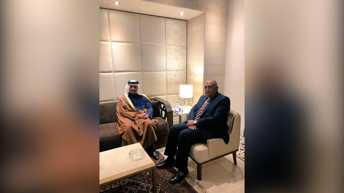 Qatari FM Sheikh Mohammed bin Abdulrahman al-Thani and Egyptian FM Sameh Shoukry meet in Cairo, March 3, 2021. (Twitter/EgyptMFASpokesperson)