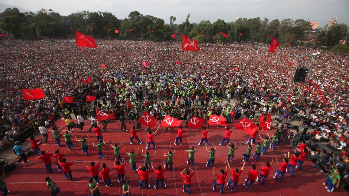 Activists of Communist Party of Nepal (Maoist) perform on a stage during a mass protest rally in Katmandu, Nepal, Saturday, May 1, 2010. (File photo: AP)