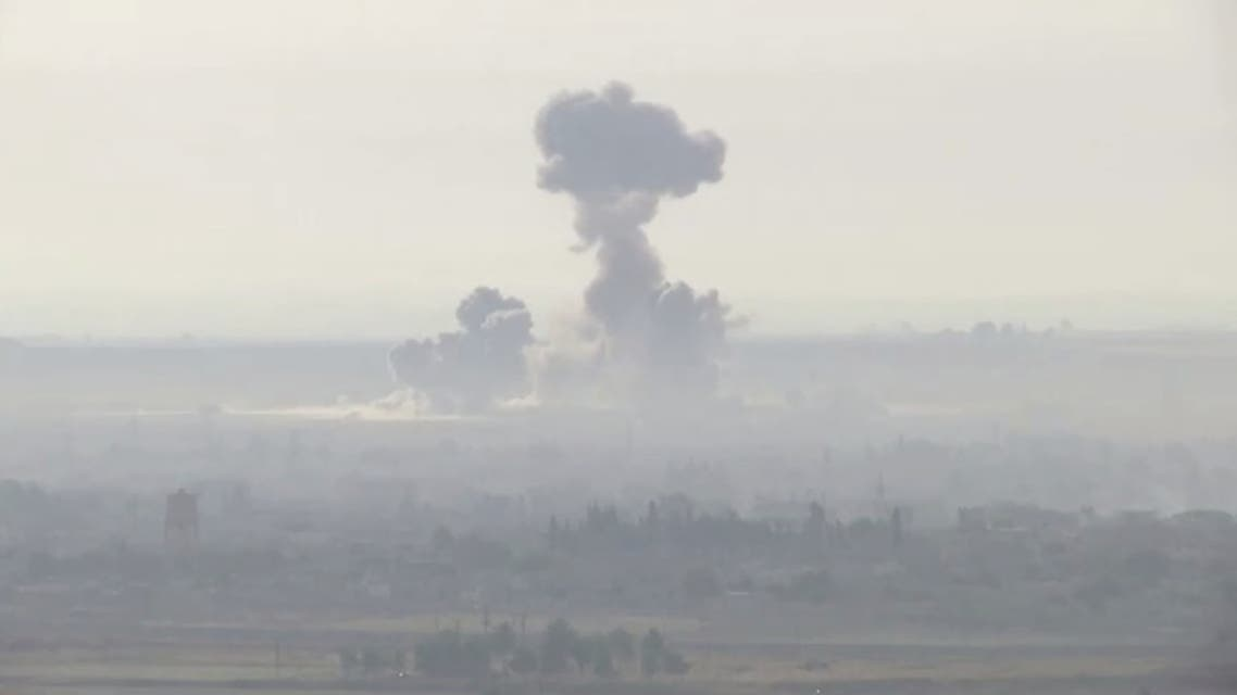 Explosions in Syrian border towns of Ras Al Ain and Tel Abyad are seen from Ceylanpinar, Turkey, October 11, 2019. (Reuters)
