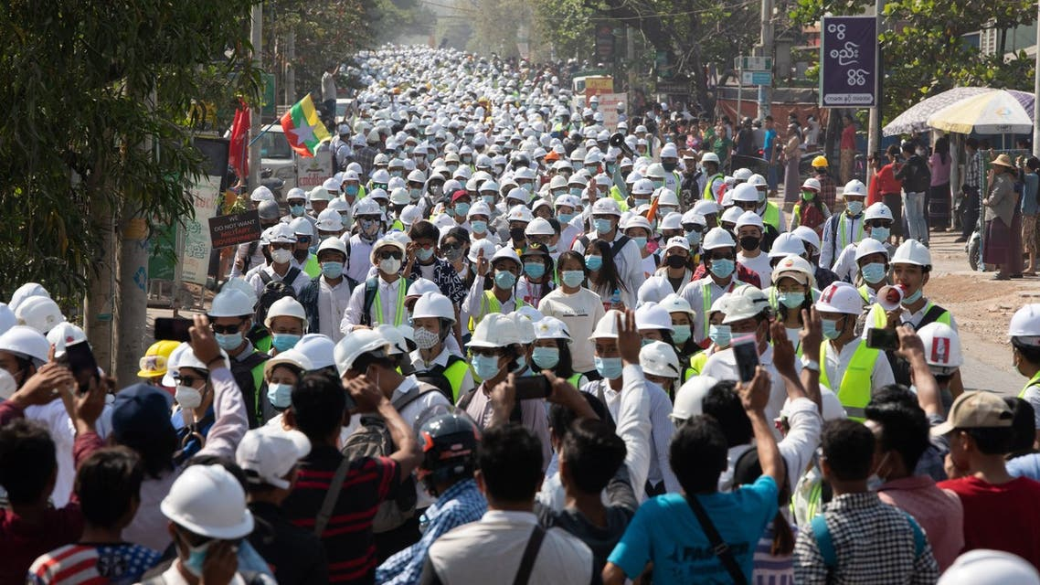 Engineers and students take part in a demonstration against the military coup in Mandalay on March 5, 2021. (AFP)