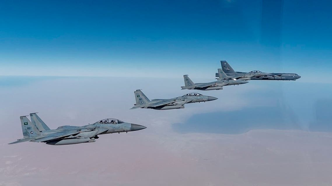 This US Air Force photo obtained January 27, 2021 shows a US Air Force B-52 flying with Royal Saudi Arabian Air Force during a bomber task force mission. (AFP)