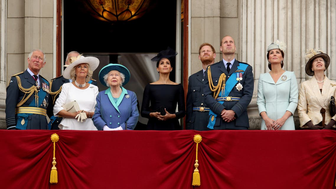 Britain's Prince Charles, Camilla, Duchess of Cornwall, Queen Elizabeth, Meghan, Duchess of Sussex, Prince Harry, Prince William, Catherine, Duchess of Cambridge and Princess Anne stand on the balcony of Buckingham Palace. (Reuters)