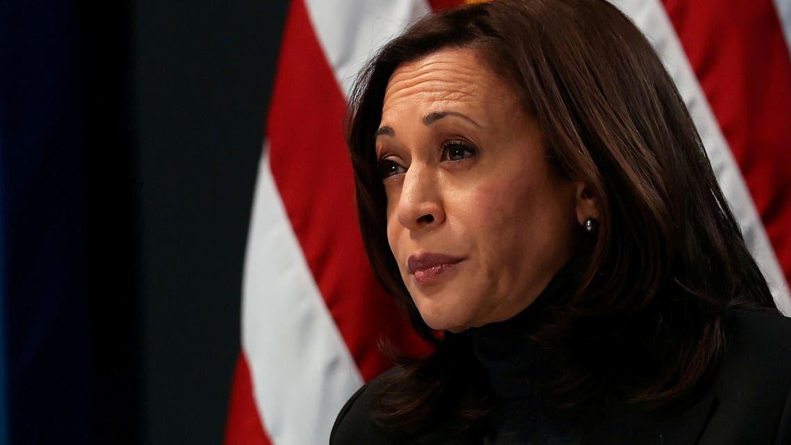 VP Kamala Harris hosts a virtual town hall at the White House, Feb. 18, 2021. (AFP)