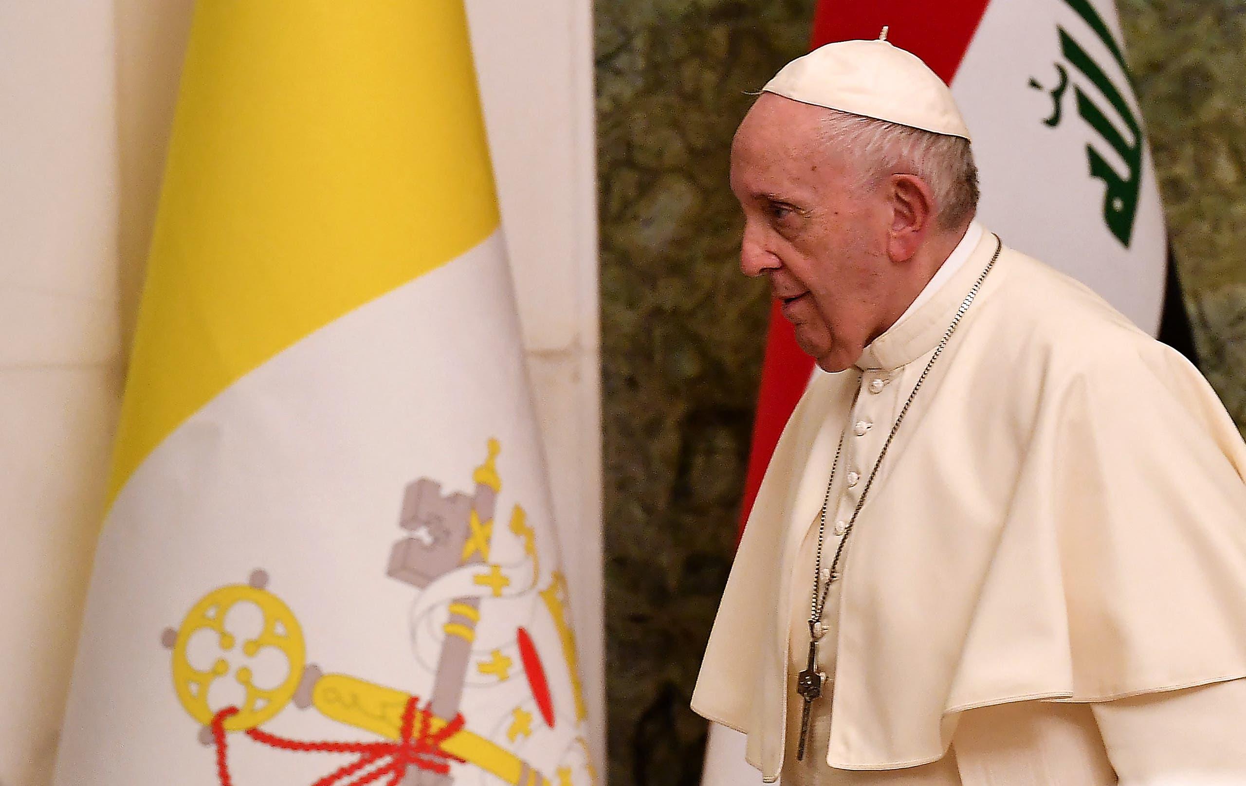 البابا فرنسيس في بغداد (فرانس برس)