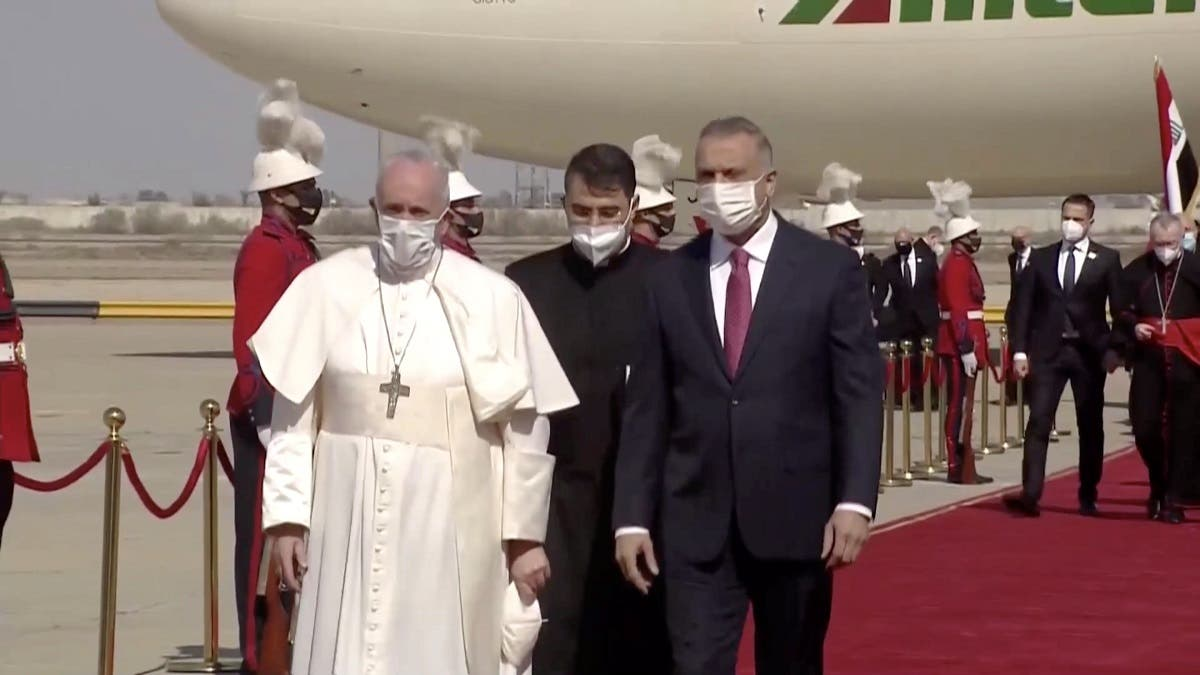 Pope Francis arrives at Baghdad International Airport. (Reuters)