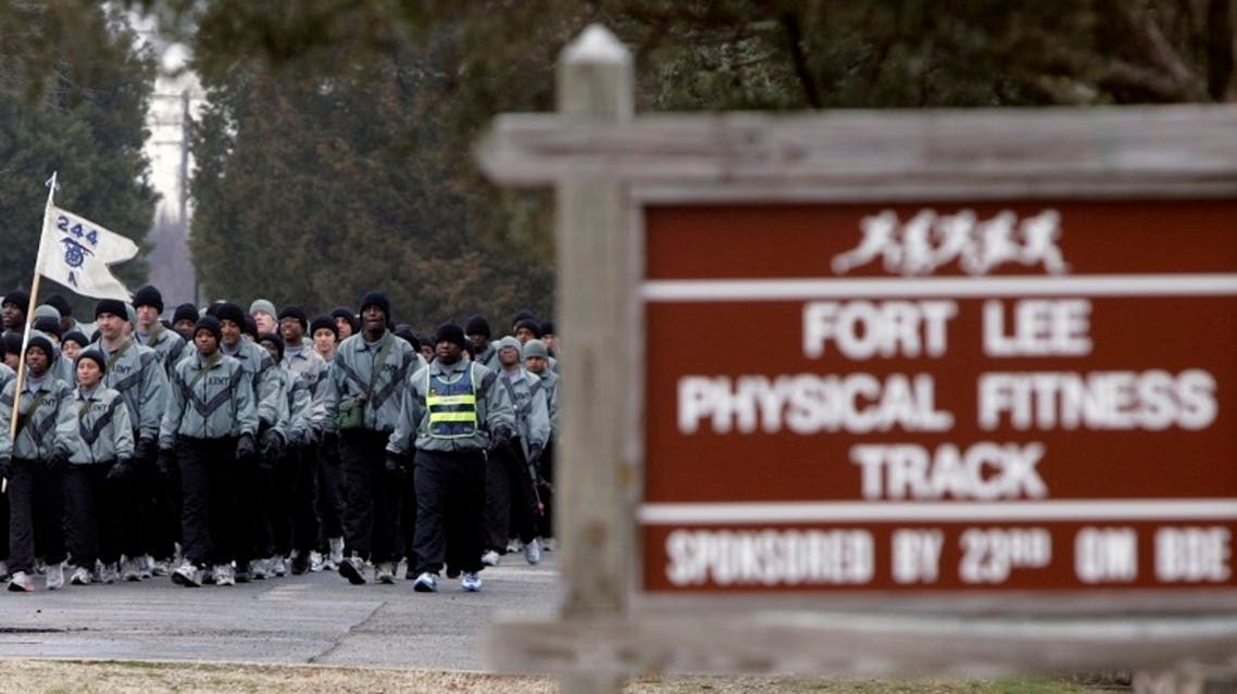 US soldiers march to the physical fitness track at the Ft. Lee Army base in Ft. Lee, Virginia. (File Photo: AP)