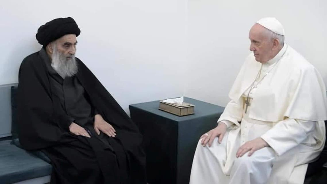 Pope Francis meets with Iraq's top Shi'ite cleric Ali al-Sistani, in Najaf, Iraq March 6, 2021. (Reuters)