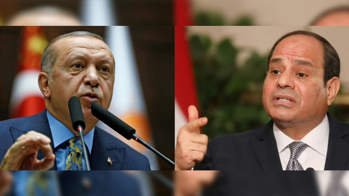 This combination of pictures created on June 22, 2020 shows (L) Turkish President Recep Tayyip Erdogan and (R) Egyptian President Abdel Fattah al-Sisi. (AFP)