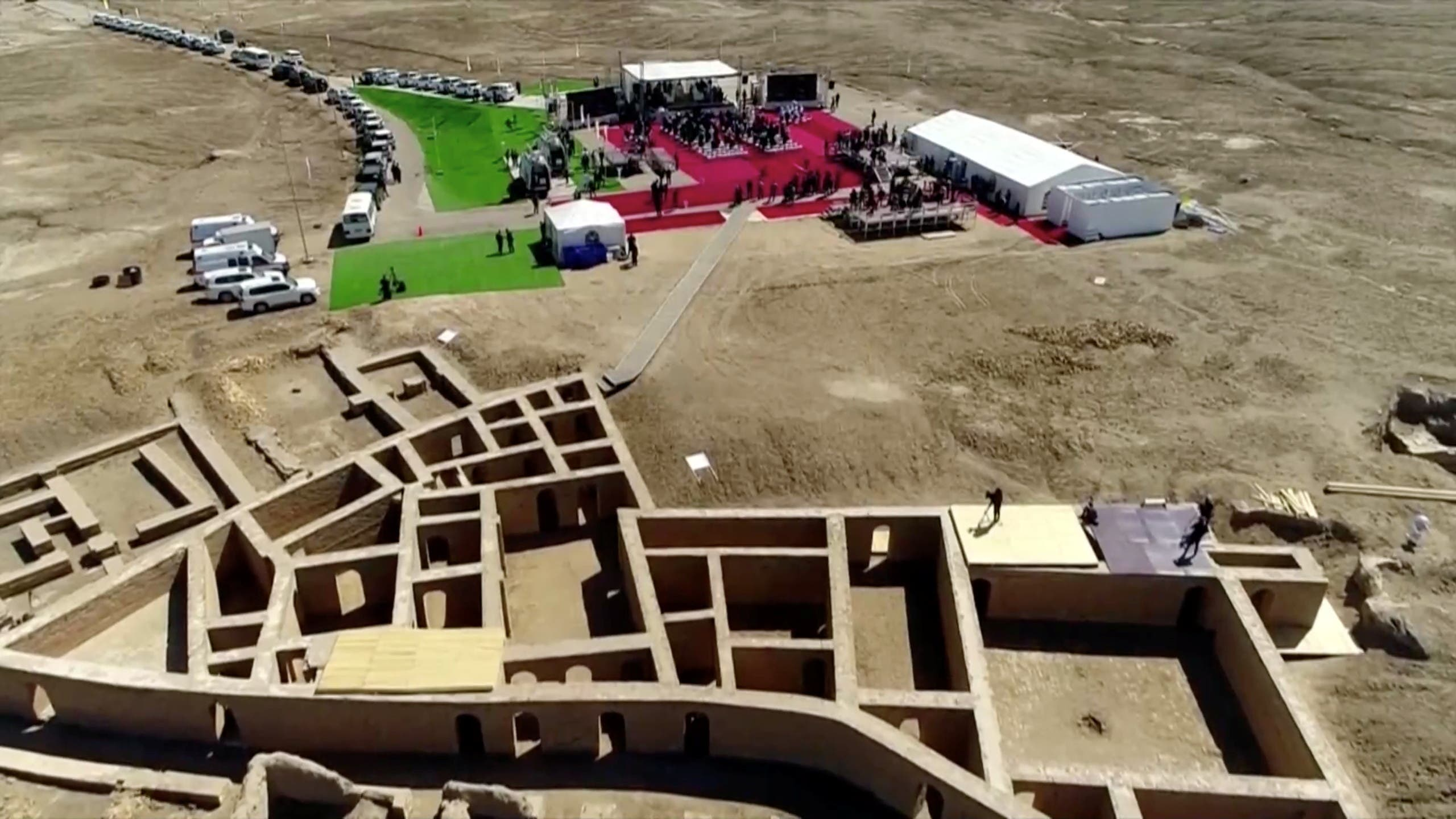 General view of the ancient archeological site of Ur, traditionally believed to be the birthplace of Abraham, in Ur near Nassiriya, Iraq, March 6, 2021 in this screen grab taken from video. (Reuters)