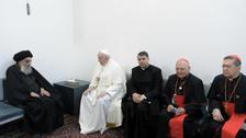 لقاء غير مسبوق في النجف.. بين البابا والسيستاني
