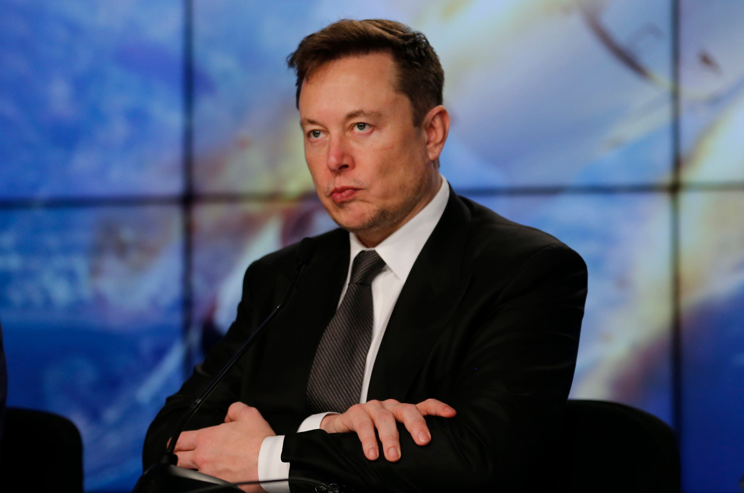 SpaceX founder and chief engineer Elon Musk reacts at a post-launch news conference to discuss the SpaceX Crew Dragon astronaut capsule in-flight abort test at the Kennedy Space Center in Cape Canaveral, Florida, U.S. January 19, 2020. (Reuters)