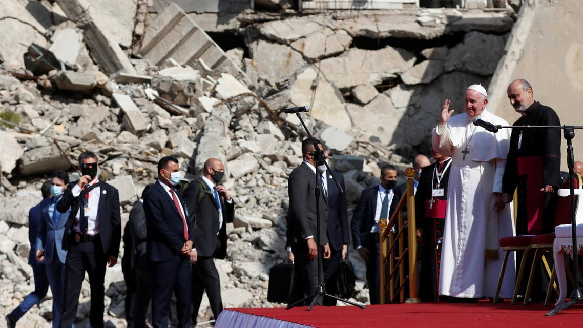 Pope Francis arrives to pray for war victims at 'Hosh al-Bieaa', Church Square, in Mosul's old city, Iraq, March 7, 2021. (Reuters)